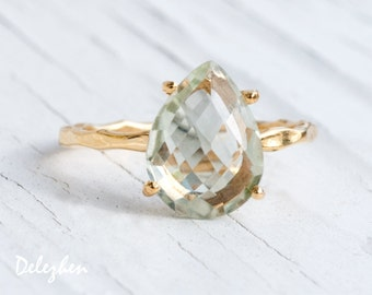 Green Amethyst Ring Gold - Solitaire Ring - Birthstone Ring - Gemstone Ring - Stacking Ring - Gold Ring - Tear Drop Ring - Prong Set Ring