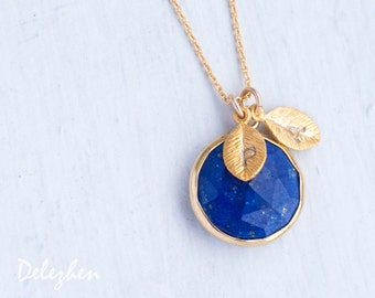 Lapis Necklace - September Birthstone Necklace - Personalized Necklace - Customize Initials Necklace - Gemstone Necklace