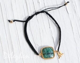 Friendship Bracelet - Personalized Charm Bracelet - Raw Emerald Bracelet - May Birthstone Bracelet - Initial Charms