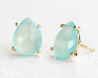 Aqua Blue Chalcedony Stud Earrings - Post Earrings - Gold Stud Gemstone Earrings - Tear drop Stud - Prong Set studs