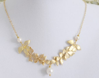 Bridesmaid Gift, Discounted Set of 3 Handmade Wild Orchid Necklaces, White Freshwater Pearl, 14K Gold Filled Chain, Wedding Jewelry