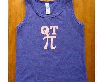 QT Pi Girls Math Shirt - Girls Tank Top Sleeveless Math Tee Shirt - Sizes 2, 4, 6, 8, 10, 12 - Purple