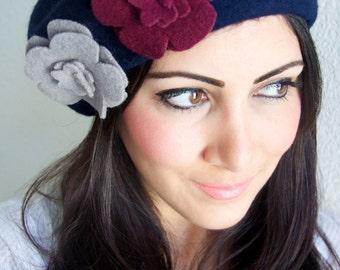 Navy Blue Beret - Navy Winter Beret w/flirty felt flowers embellishments