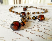 Vintage Amber Glass Rosary Style Necklace India