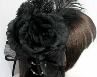 Made to order: Gothic Rose Feathered Heaband