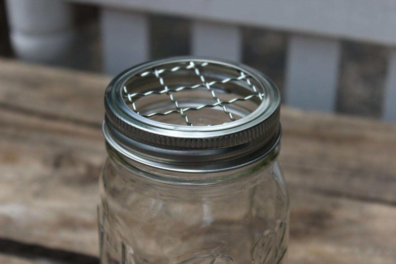 mason jar toothbrush make up brush holder flower frog with. Black Bedroom Furniture Sets. Home Design Ideas