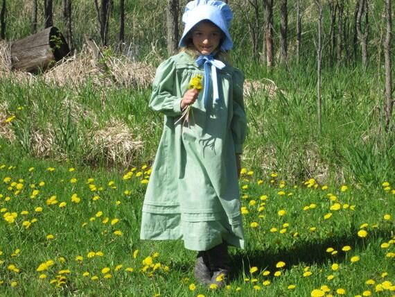 AMELIA Girls Pioneer Dress/ Prairie Dress Size 7 - 14
