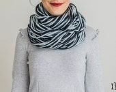 SCARF // Black White Infinity Eternity Scarf Noodle Scarves Cotton Fashion Neckwarmer Circle Necklace Chunky Cowl