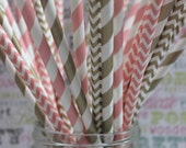 250 Gold and Blush Pink Party Straws, 75 each Gold Stripes and Chevron , 50 each Blush Stripes, Chevron, Blush Pink and Gold Party Straws