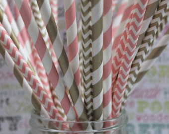 50 Gold and Blush Pink Party Straws in Stripes or Chevron, Blush Pink and Gold Wedding Straws with Printable DIY Flag Template