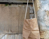 Tan Leather Tote with Pleated Detail and Rope Strap - Ready to Ship - As Seen