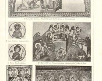 1908 Vintage Print of Byzantine Art