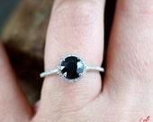 Natural Dark Blue Sapphire & Diamond Halo Engagement Ring 1.5ct 7mm 14k 18k White Yellow Rose Gold-Platinum-Custom made-Wedding-Anniversary