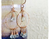 Aquamarine and 14k rose gold fill chandelier earrings