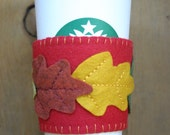 SALE 25% OFF Fall Leaves on Bright Red Felt Cup Cozy