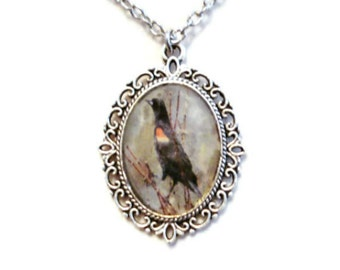 Red Winged Blackbird Necklace Blackbird Pendant Jewelry