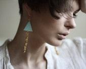 Teal green and gold long fishbone shoulder earrings