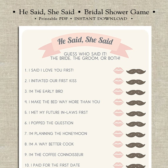 he said she said bridal shower game template - he said she said printable bridal shower game by