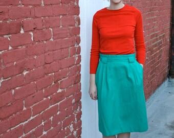 1980s Teal Secretary Skirt