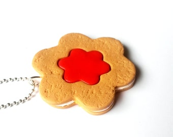 Jammie Biscuit Necklace ( food necklace cake necklace miniature food miniature biscuit food pendant polymer clay jewelry mini food jewelry )