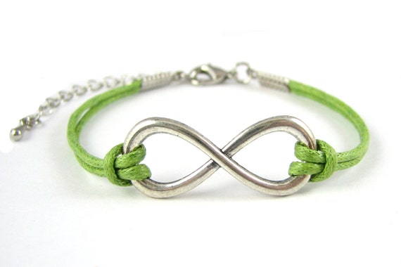 Infinity Bracelet : Antique Silver Infinity Green Waxed Cord Bracelet 6 to 7.5 inches