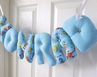 Konrad - Personalized Baby name wall hanging, blue nursery decor, robot theme. Baby boy Christening gift, baby shower gift, 1st Birthday.