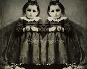Dark and Creepy Halloween Decor, Doll Like Twin Girls, Zombies, Macabre, Halloween Wall Art