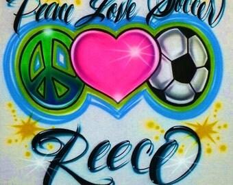 Airbrush T Shirt Peace Love Soccer, Airbrush Soccer Shirt, Soccer Shirt, Peace Love Soccer, Soccer Ball Shirt, Soccer, Airbrush Shirt