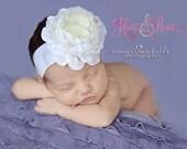 Comfy Boutique Baby Girl Headband.Off White/cream Ruffle/Flower Headband.Newborn Headbands.Baby Headbands.Christening Headband.Baptism
