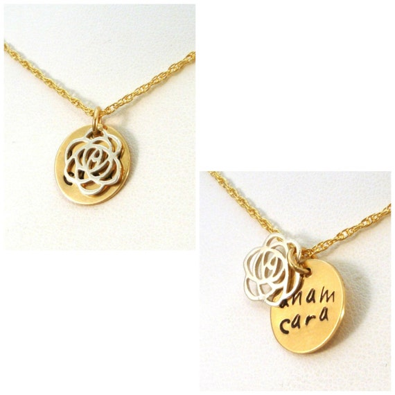 anam cara message necklace in gold silver mixed