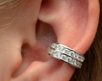Channel Set Ear Cuff- Two Rows