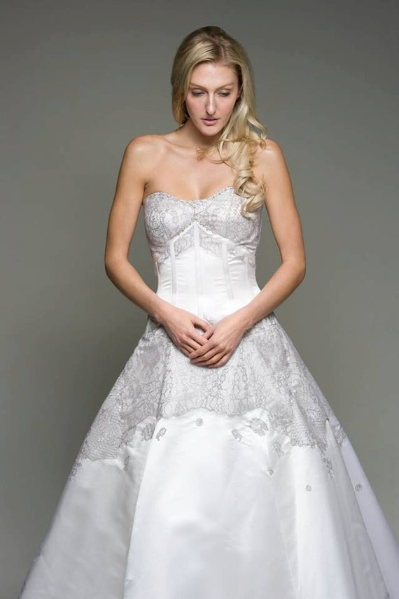 Items similar to silver wedding dress lace white satin for Silver and white wedding dresses