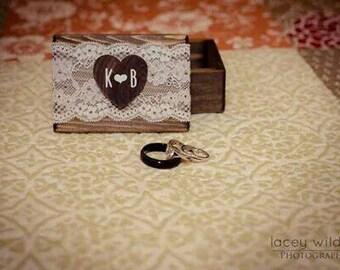 Rustic Wood Ring Box Ring Bearer Box Ring Keepsake Box Lace Box Rustic Wedding Ring Box Bridal Shower Gift