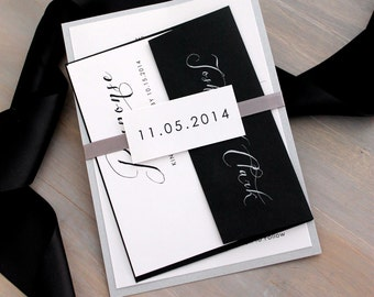 "Black and White Invitations, Elegant Invites, Modern Wedding, Script Invitations, ""Black Script"" Sample"
