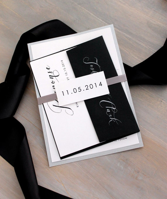 Black And White Invitations Elegant Invites Modern Wedding