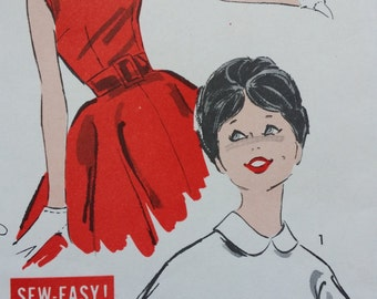 1950s Blouse in Two Styles Advance Sewing Pattern 9185, Size 13, Bust 33