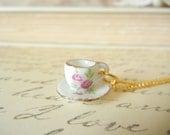 Tea Cup Charm Necklace | Rose Tea Cup
