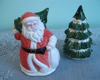 Vintage Santa & Christmas Tree Salt and Pepper Shakers - Santa and Tree Shakers - Christmas Salt and Pepper Shakers - Christmas - Santa