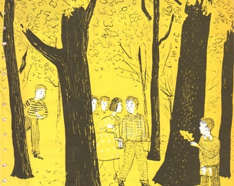 """PAGE FROM a BOOK Vintage Art Children's Book Framed Page illustration """"Walk in the Woods"""" Duvoisin 1960's Page from Book"""
