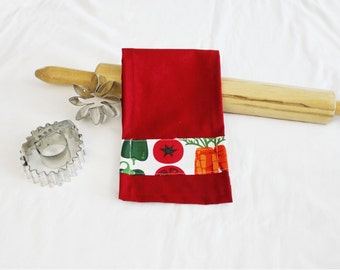 White Vegetables Child Size Toy Dish Towel for pretend play