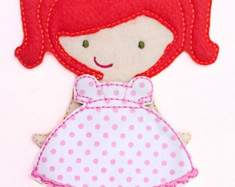 Felt Doll, Riah Doll, Non Paper Doll, Doll with outfit, Felt Paper Doll, Felt Toy, Travel Toy