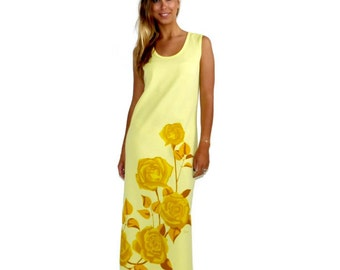 Vintage Yellow Dress, 70s Alfred Shaheen, Yellow Rose, Hawaiian Maxi, Beach Cover Up, Size Small-Medium S M