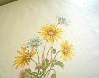 Golden Daisies Print Hankie Vintage Handkerchief