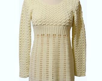 Beige tunic, Crocheted sweater, crochet tunic, made to order, crochet handmade, crochet women tunic, cover up, cotton crochet, bridal dress