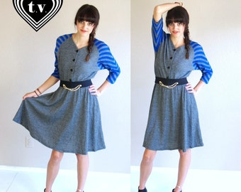 vtg 80s Heathered GRAY STRIPED preppy DRESS mini Small/Medium full skirt knit