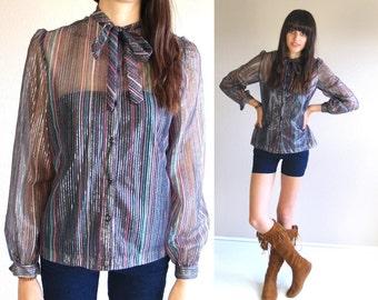 vtg 70s sheer METALLIC STRIPED Neck Tie BLOUSE boho Large hippie Jantzen top blouse