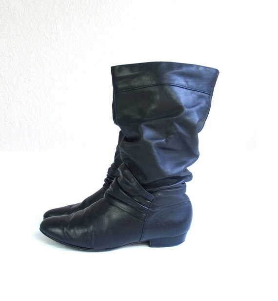 vintage 80s black leather slouchy boots pirate by