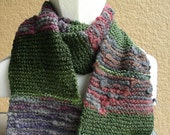 Scarf Green Purple Mauve Grey Gray Multicolored Acrylic and Wool hand knit. Soft cuddly scarf