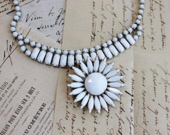 Vintage Milk Glass Assemblage Statement Necklace- Art Deco Twenties Style- The Milk Maid