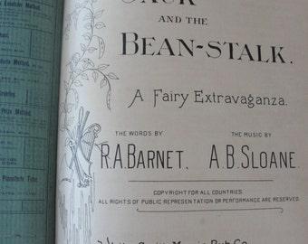 Rare 1896 vocal score Jack and the Beanstalk